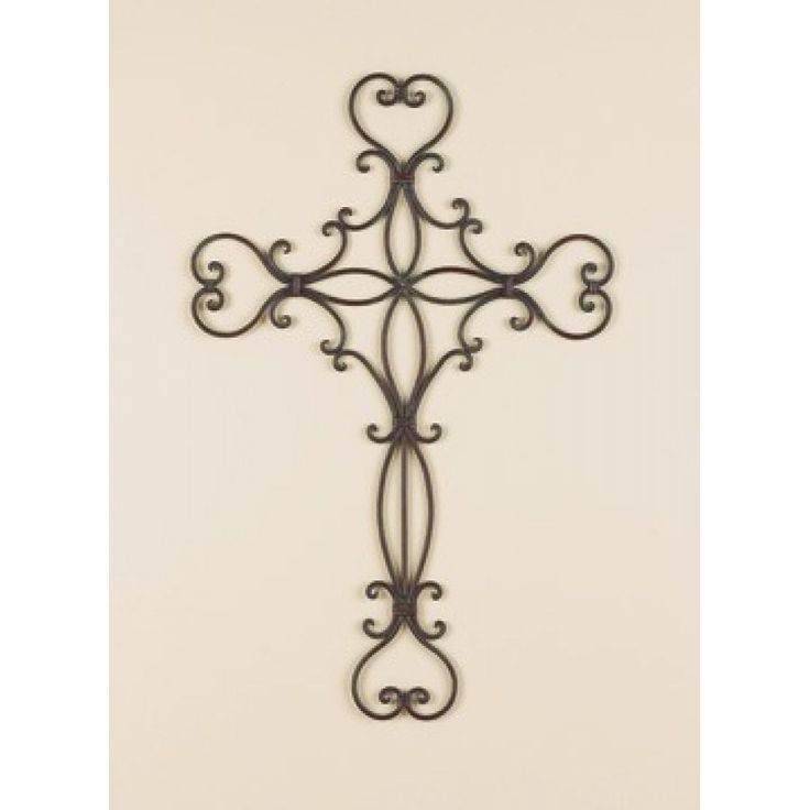 Decorative metal wall crosses wall decor home accents scrolled heart wrought iron metal wall for Wrought iron decorations home