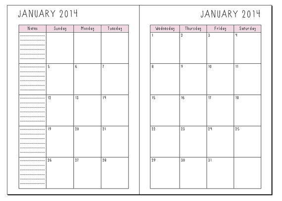 Free A5 Printables 2016 | Calendar Template 2016