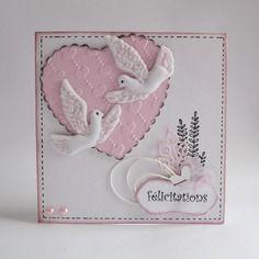 Carte de mariage rose et blanc avec 2 colombes