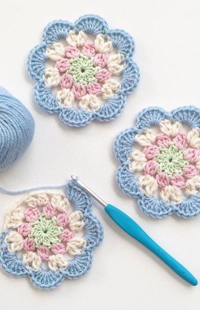Square flores   flores de ganchillo   Croché, Ganchillo y Ganchillo ...