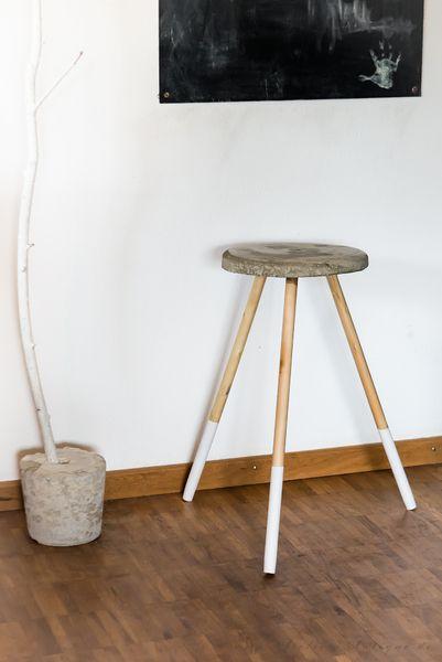 design hocker stuhl beton wei schlicht edel style von. Black Bedroom Furniture Sets. Home Design Ideas