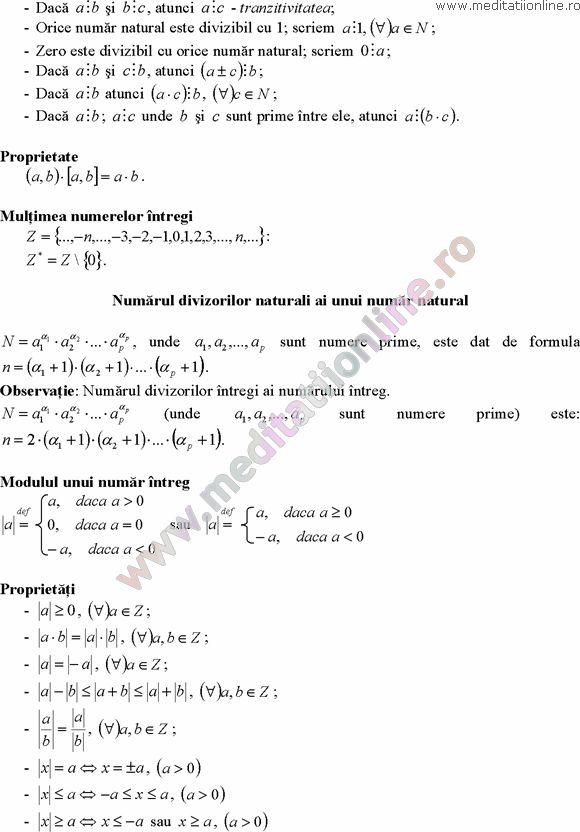 Formule matematica gimnaziu 5 8 Formule si teorie Algebra clasele 5 8 pagina 2