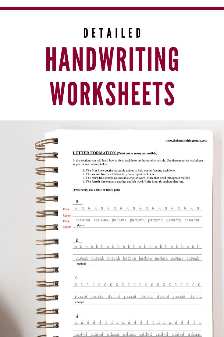 Antoinette Handwriting Practice Sheets Lowercase Uppercase Etsy Handwriting Practice Sheets Handwriting Practice Handwriting