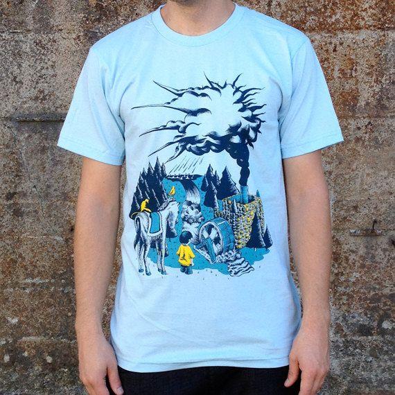 Water Cycle T-shirt, Men's American Apparel Blue Tee. $19.99, via Etsy.