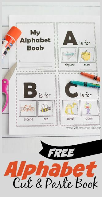 FREE Alphabet Cut and Paste Book - this is better than alphabet letters worksheets as kids will have fun practicing identifying alphabet sounds (phonics) and then cut and paste the picture on the right sound page. Perfect for toddler, preschool, and kindergarten age kids learning their ABCs. Perfect for centers, homework, seat work, home preschool, and more.