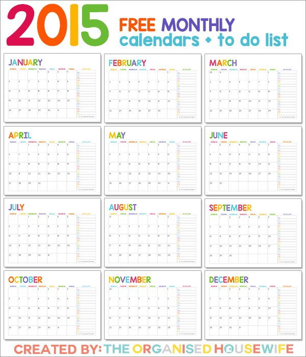 FREE 2015 Calendars from The Organised Housewife