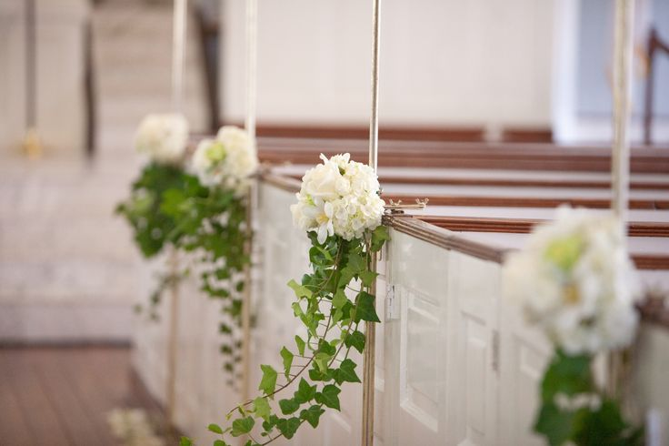 ivy cascade floral pew marker classic white wedding pinterest church pew wedding church. Black Bedroom Furniture Sets. Home Design Ideas