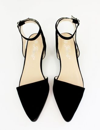 BLACK SUEDED POINTY ANKLE STRAP FLATS, Shoes, Sueded Pointy Ankle Strap Flats,