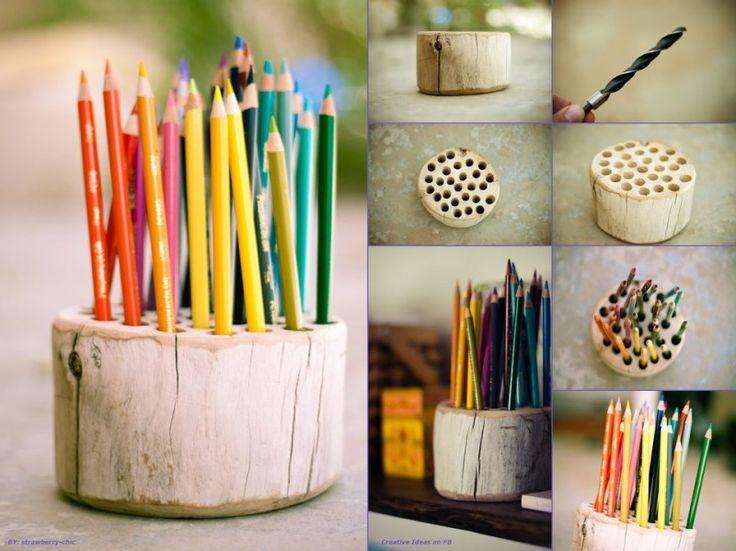 Rustic Pencil Holder-24 DIY Creative Ideas