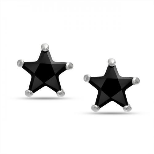 Bling Jewelry Patriotic Unisex Mens CZ Black Star Stud Earrings Sterling Silver