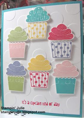 Stampin' Julie- Stampin' Up! Cupcake Party stamp set, Whisper White, Bermuda Bay paper, Blushing Bride, Pear Pizzazz, Melon Mambo, Bermuda Bay, Daffodil Delight ink.