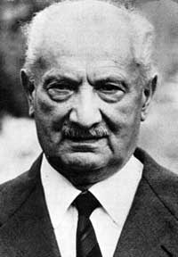 """Martin Heideger was a German philosopher known for his existential and phenomenological explorations of the """"question of Being.""""  We find ourselves """"always already"""" fallen into a world that already existed; but he insists that we have forgotten the basic question of what being itself is.  In 1927, Heidegger published his main work Sein und Zeit (Being and Time)."""