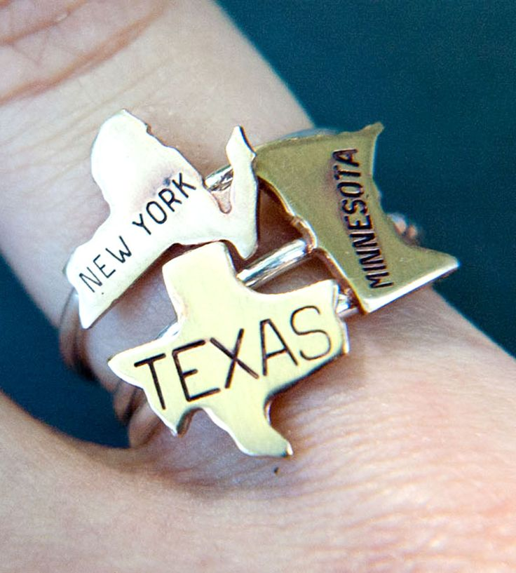 Custom Brass State Ring $21 - what a cute #gift idea!!