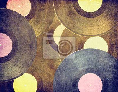 Klasické hudební pozadí, vinylové desky na obrazech myloview. Nejlepší kvality plakáty, fototapety, myloview sbírky, nálepky, obrazy. Chcete si vyzdobit Váš domov? Pouze s myloview!