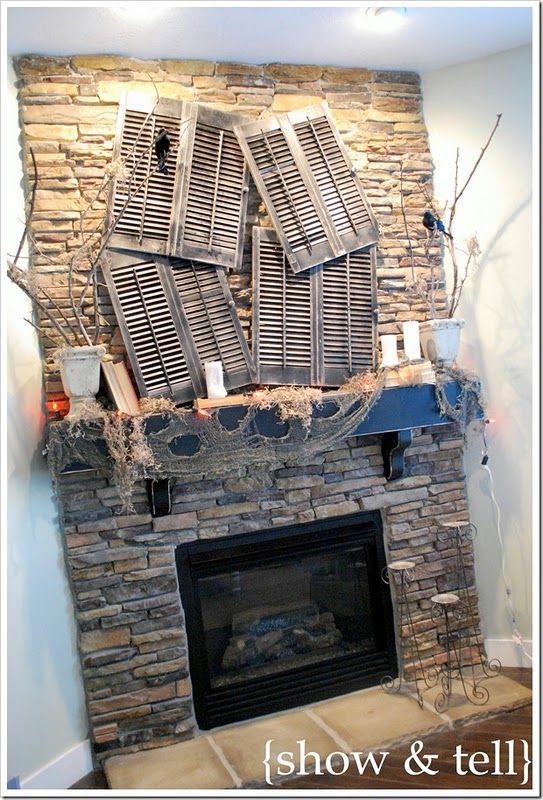 love this: Halloween Parties, Old Shutters, Fireplaces Mantels, Halloween Mantels, Mantel Decor, Fireplaces Decor, Halloween Decor Ideas, Mantles, Halloween Ideas