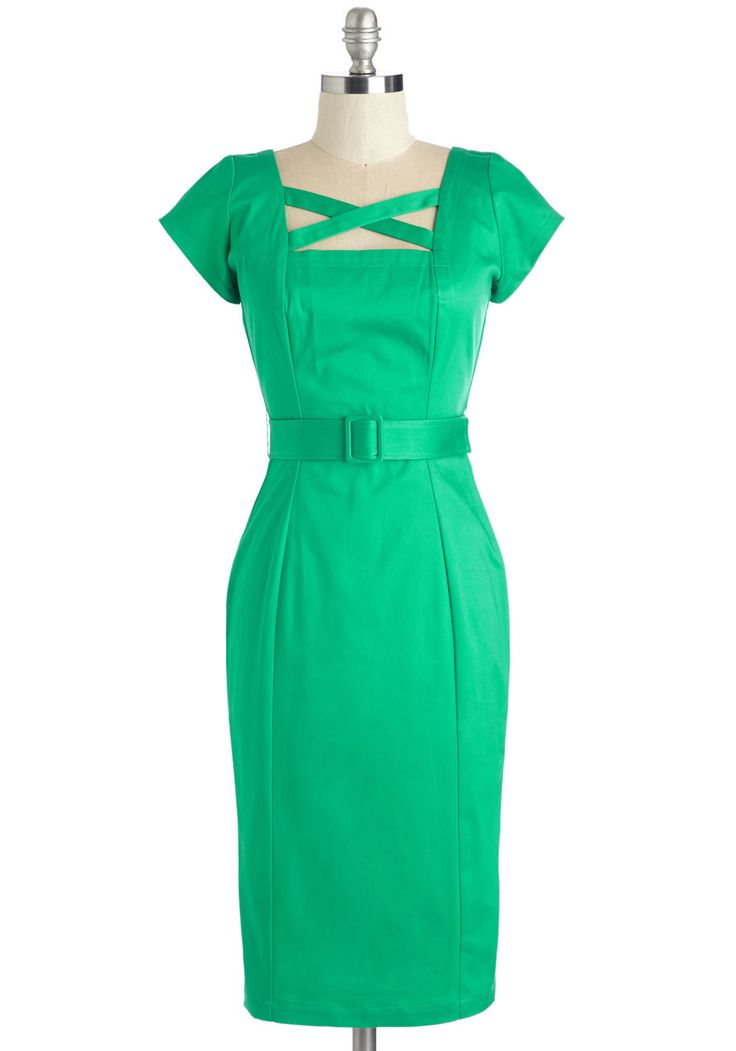 Sass All, Folks! Dress. Make an entrance thats sure to animate the room in this vivid green cocktail dress! #green #modcloth
