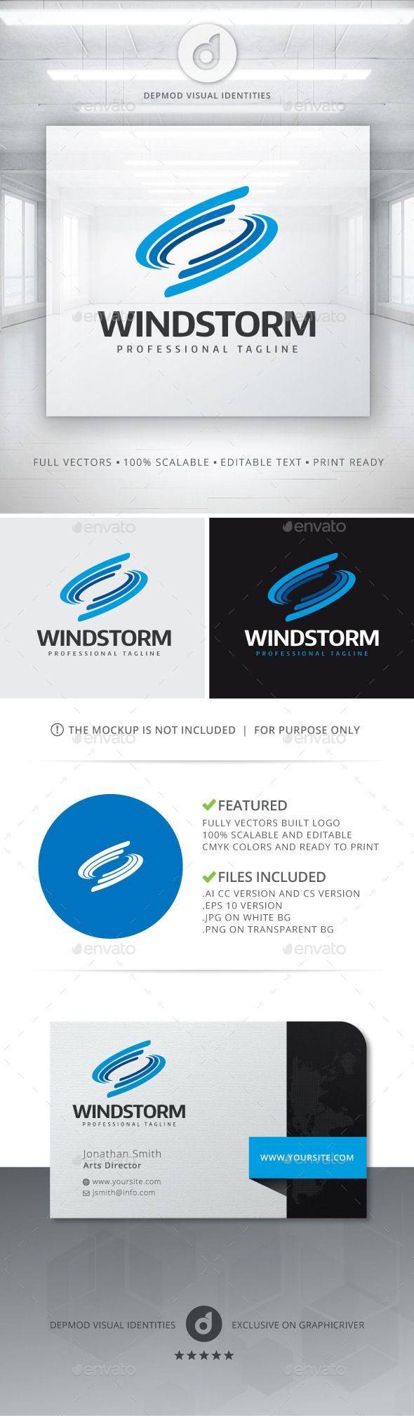 Wind Storm  Logo Design Template Vector #logotype Download it here: http://graphicriver.net/item/wind-storm-logo/11453632?s_rank=840?ref=nexion
