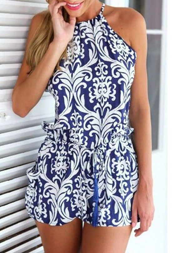Blue Floral Condole Belt Cross Back Drawstring Waist Short Jumpsuit