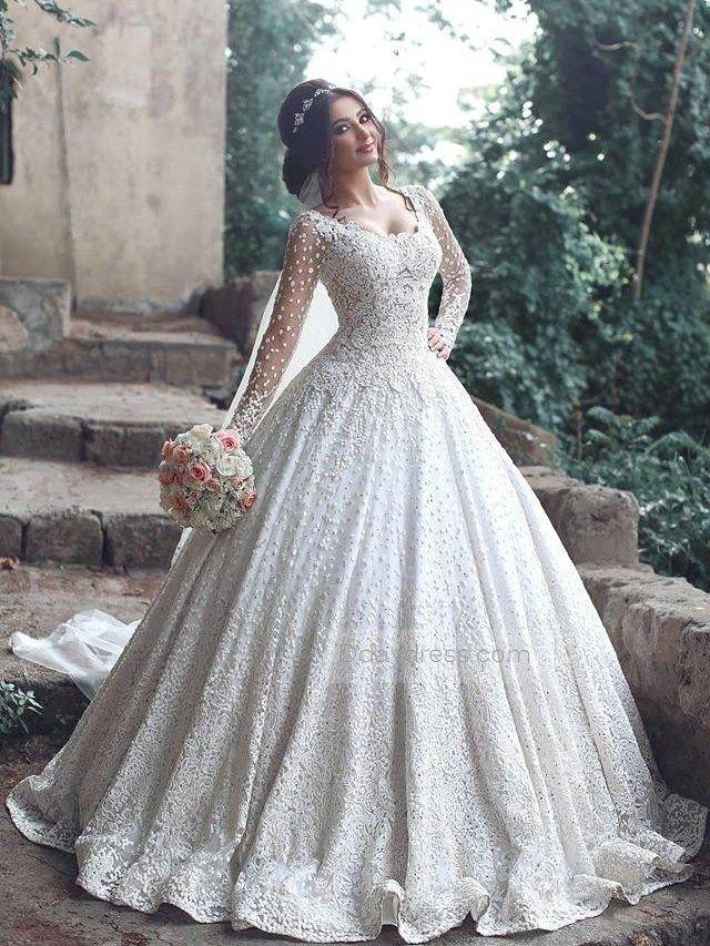 Luxurious Scoop Neck Dot Sheer Sleeves Floor Length Ball Gown Dress Itemwd0370