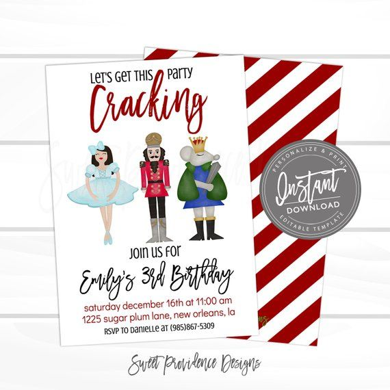 Christmas Nutcracker Birthday Invitation, Editable kids Birthday