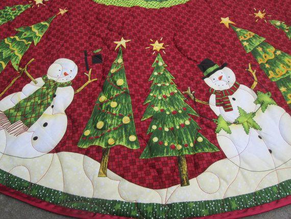Árbol de Navidad falda muñeco de nieve y árbol de por bellazahn