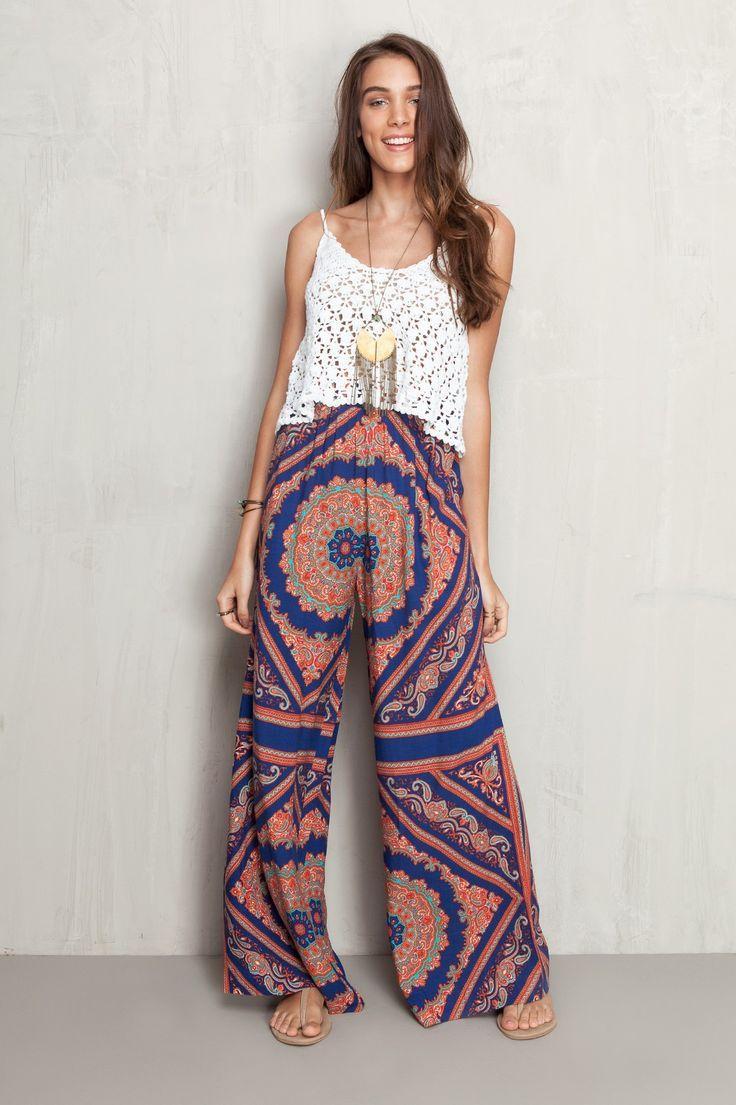 Resultado de imagem para calça larga feminina pantalona