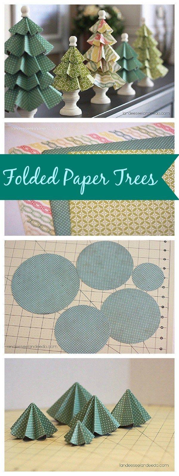 Arbres en papier pliées bricolage - Super mignon et facile Décorations de Noël!