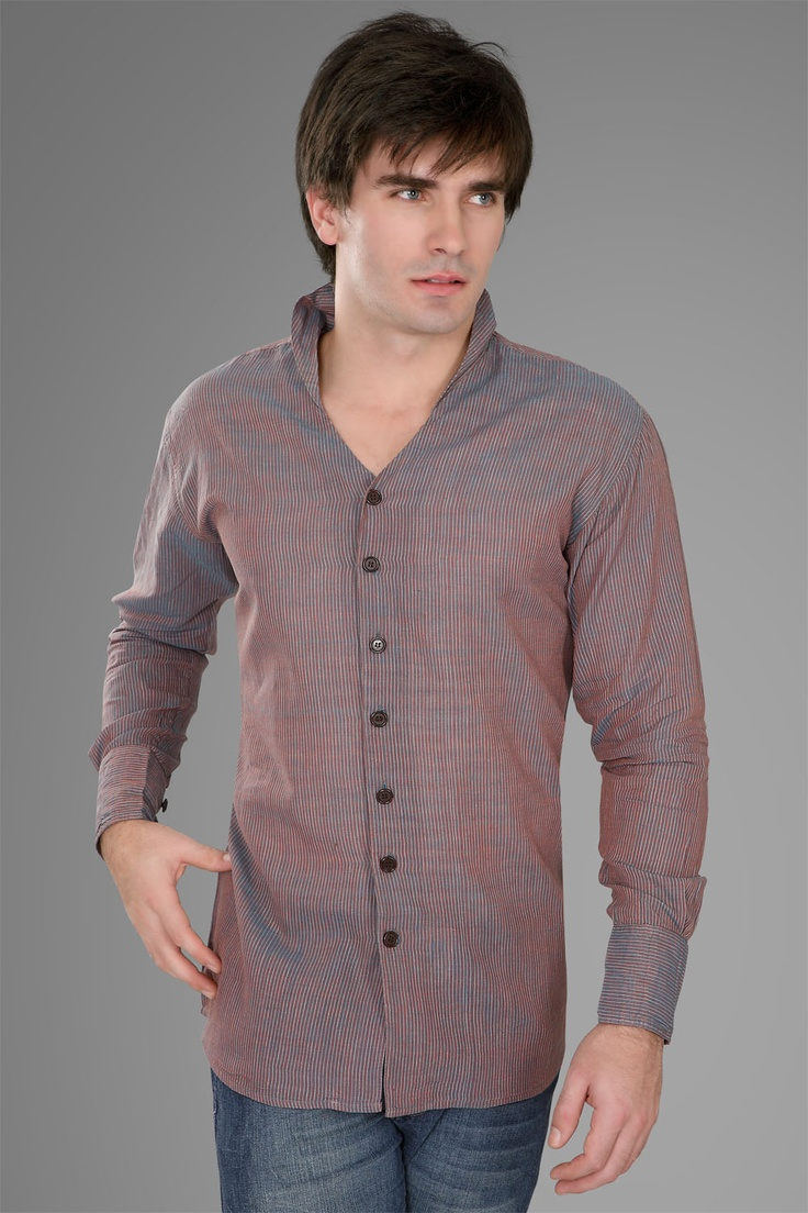 """This fabric has mild Schizophrenia with its dual tone colors that are subtle but just enough to be taken notice. The Collar is angry too.Exlcusively """"Khadi""""..."""