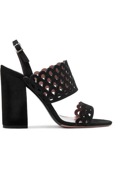 Tabitha Simmons - Ilma Laser-cut Suede Slingback Sandals - Black - IT37.5