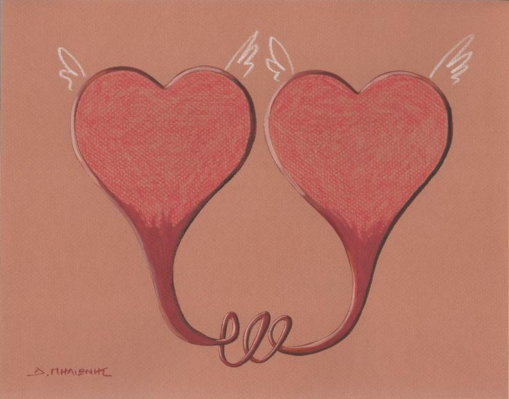 Heart - Signed Tempera & Pencil Painting on Paper #Minimalism