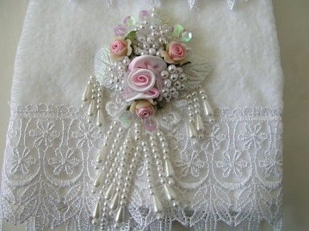 Beaded ribbon embroidery - so beautiful on the lace background