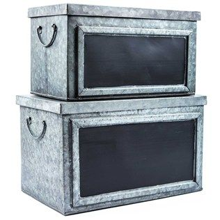 Don't settle for boring organizational solutions. Increase the rustic flair of your home or office with this shabby-chic Galvanized Tin Box Set with Chalkboard Labels! Each galvanized tin box features a dark silvery color, wide chalkboard labels, handles on the sides, and snug-fitting lids. Perfect for a variety of uses, including storing tools, nuts and bolts, kids' toys, jewelry, scarves and other accessories, scrapbooking or other craft supplies and more, these adorable ...