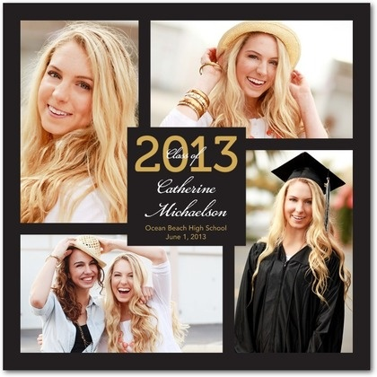 Graduation Announcements Cute Quad - Front : Wasabi