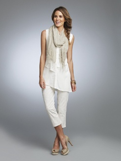 ALLURE 3    S13312  Asymmetrical Sleevess Blouse  Available in *Off White, Salmon, Sand  Sizes: XS - XXL    S13345  Scarf  Available in *Off White/Salmon, Off White/Sand  Sizes: One Size    S13307  Lace Print Capri  Available in *Off White/Sand  Sizes: 2 - 18