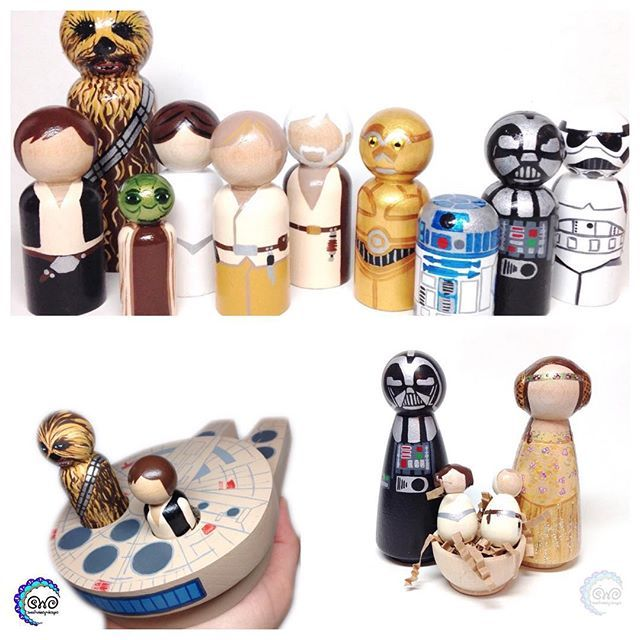 In case you need just a little more Star Wars in your life these peg dolls from @sweetwhimsydesigns are just what you are looking for! Hand painted with Americana Acrylics these are perfect for fans of all ages! #decoartprojects