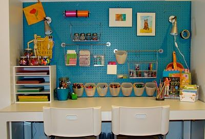 Pegboard wall with ikea accessories - Craft area for small spaces property ...