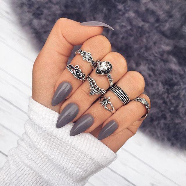 Vintage Beach Boho Ring Set, boho style, flower ring, white natural stone ring, crown ring, long gray nails, turtle shape ring,