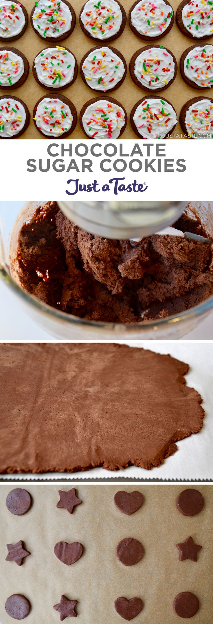 Chocolate Sugar Cookies recipe from justataste.com #recipes #christmas #holidaybaking #holidays