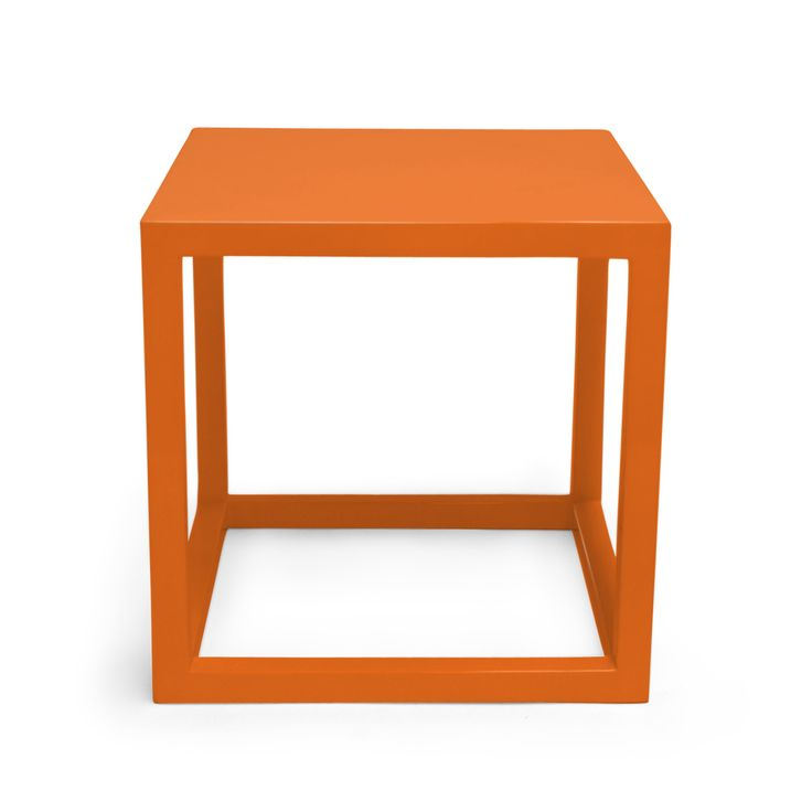 Captivating Orange Lacquer Cube Side Tables