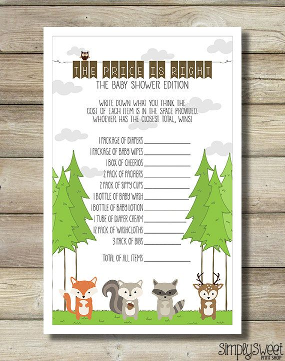 Price Is Right Baby Shower Game Nature Forest Woodland Animals Fox Raccoon  Deer Squirrel Owl Trees Outdoors Great Adventure 2 Per Page DIY