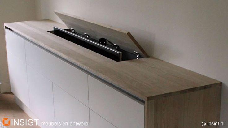 TV meubel op maat dressoir met TV lift meubelmaker Zeist