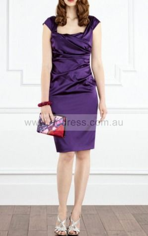 Sheath Square Knee-length Satin Natural Formal Dresses gt2973--Hodress