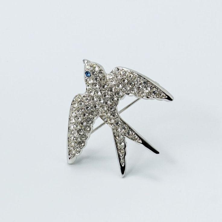 Pave Crystal Swallow Pin Brooch Juliette Gordan Low Girl Scouts of America  #jewelry #brooch #swallow #victorianrevivaljewelry