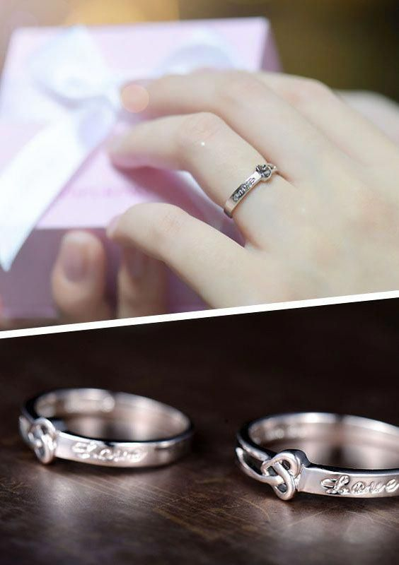 Cute Love Heart Knot Promise Rings Set For Couples Cheap Wedding