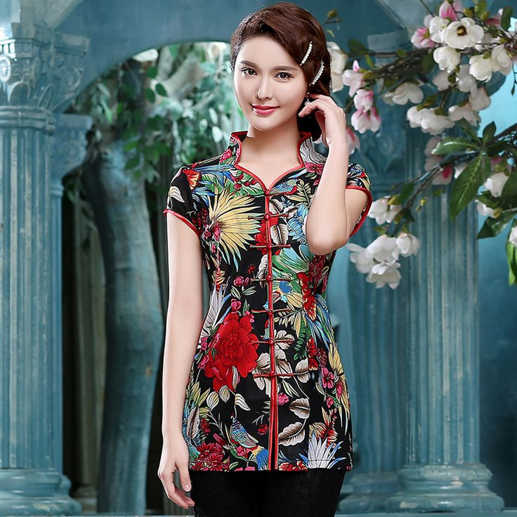 Spectacular Peony Flowers Open Neck Chinese Blouse - Chinese Shirts & Blouses - Women