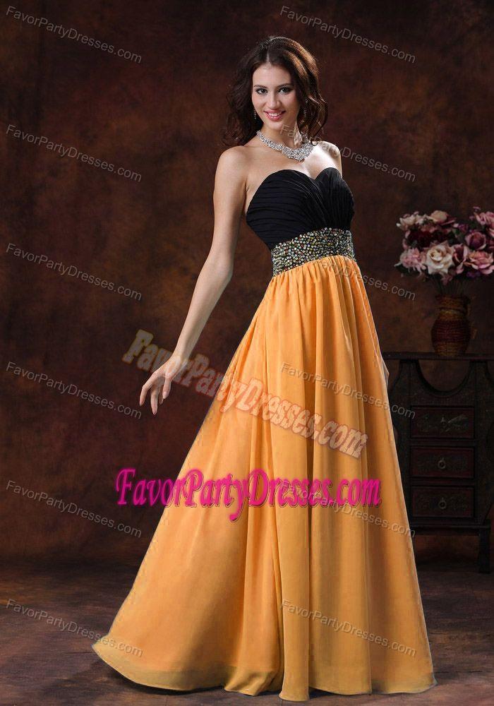 Chiffon Black and Orange Beading Sash Sweetheart Graduation Party Dresses