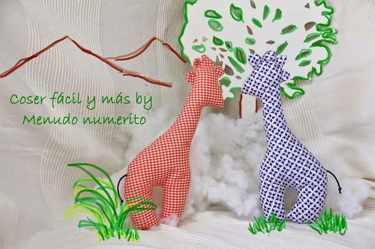 """El blog de """"Coser fácil y más by Menudo numerito"""": Cómo hacer una jirafa de trapo"""