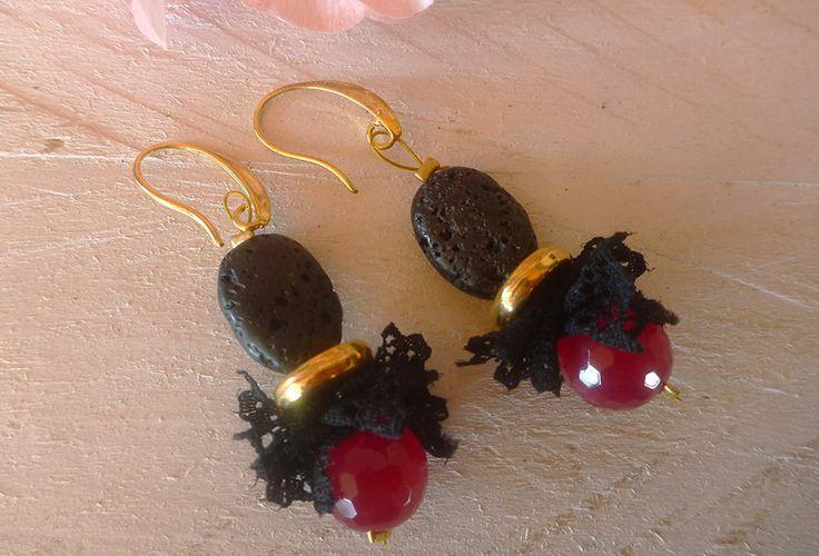 Σκουλαρίκια με λάβα αχάτη και δαντέλα