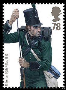 Royal Mail stamp: Rifleman 95th Rifles 1813.