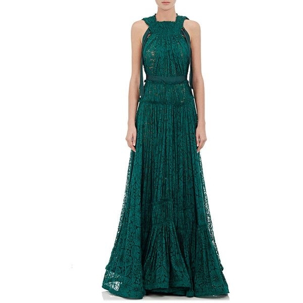 Lanvin Women's Tiered Floral Lace Gown ($4,919) ❤ liked on Polyvore featuring dresses, gowns, green, lace evening gowns, green lace dress, green evening dresses, blue lace gown and lace evening dresses